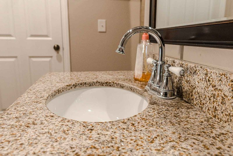 Granite counters in most bathrooms.