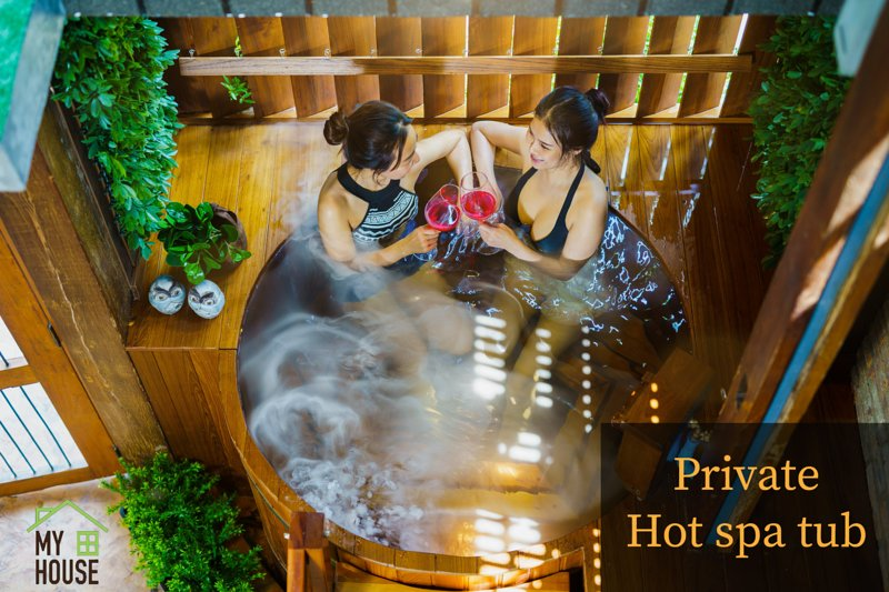 Private hot spa tub release and relax
