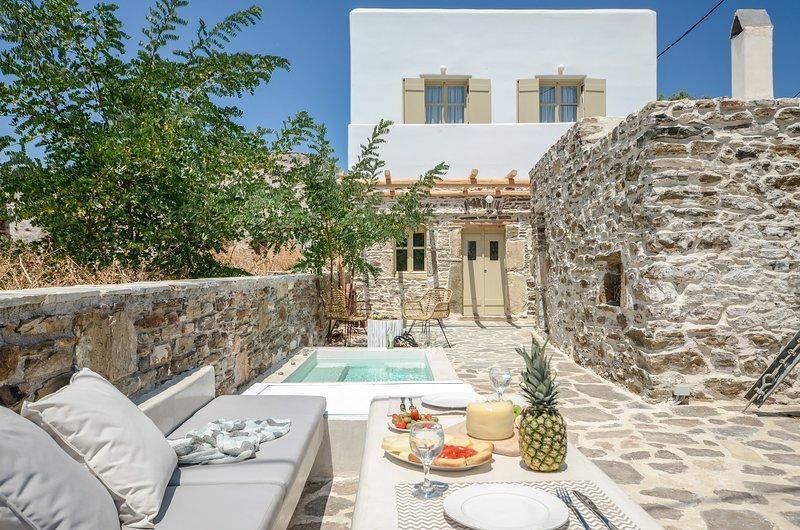 Villa in pietra con Jacuzzi nel villaggio di Sangri a pochi kilometri dal mare, vacation rental in Naxos