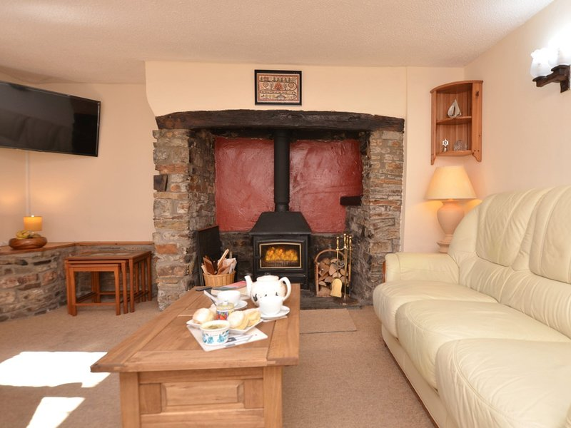 Characterful lounge with wood burner