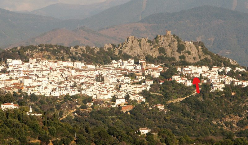 Location of Villa Los Buhos - a quiet corner of the village, but an easy walk to the centre.