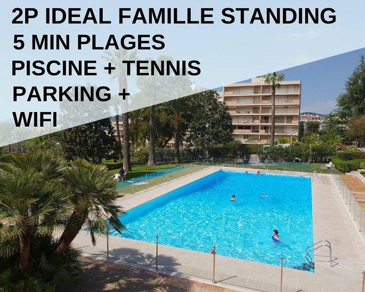 2P Calme,Idéal Famille,Piscine,Tennis,Wifi,Parking, holiday rental in Juan-les-Pins