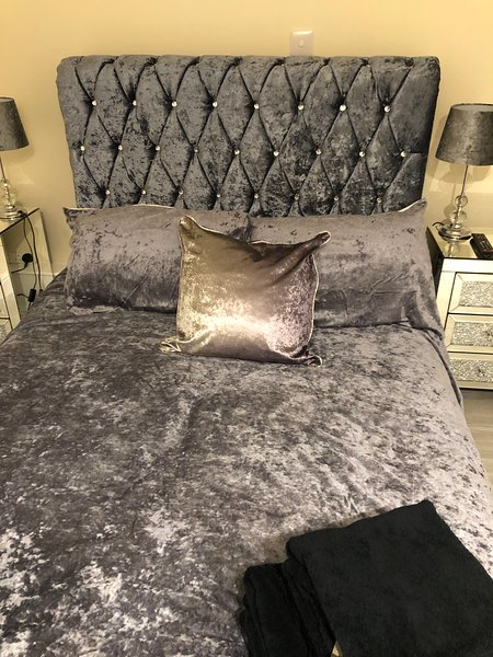 Sleep in Bling with gorgeous crushed velvet sledge bed