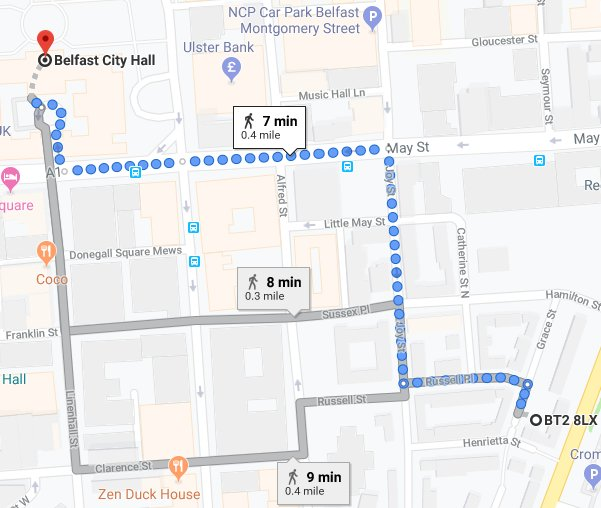 Less than 10 minutes walk to City Hall