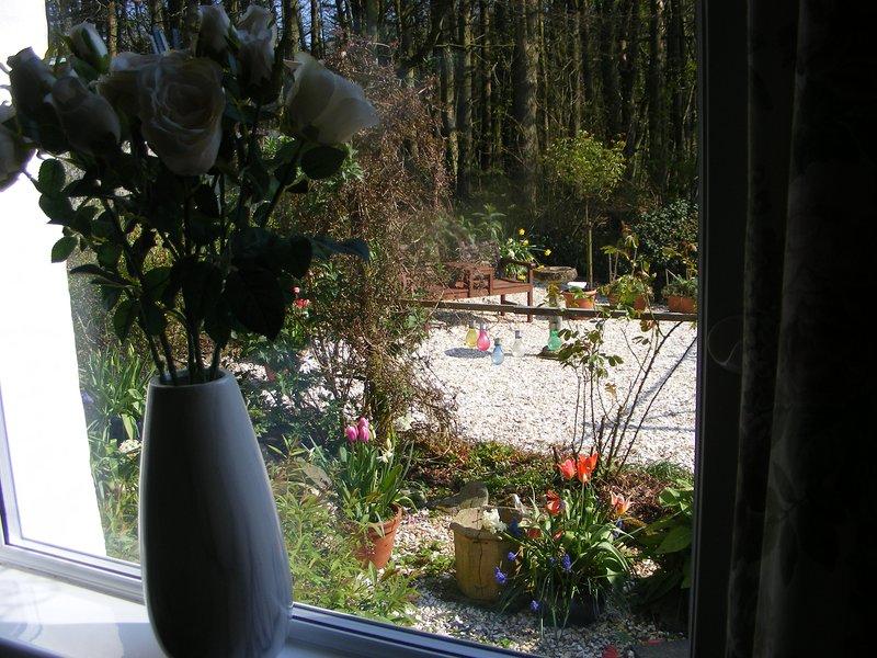 Kijkend uit raam naar een deel van de tuin
