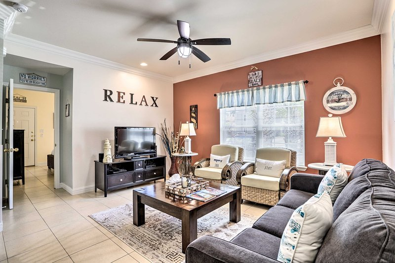 Relax in this beachy living area of this South Padre Island vacation rental!
