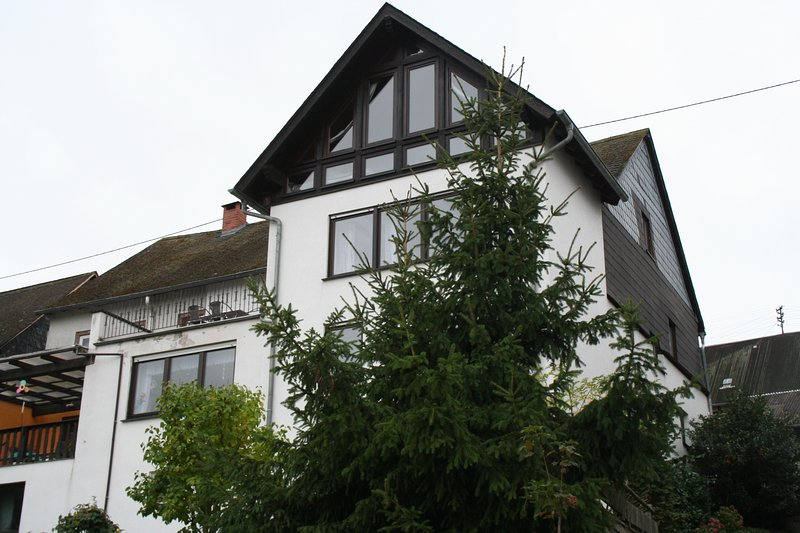 Rear view of the house with fully glazed gable