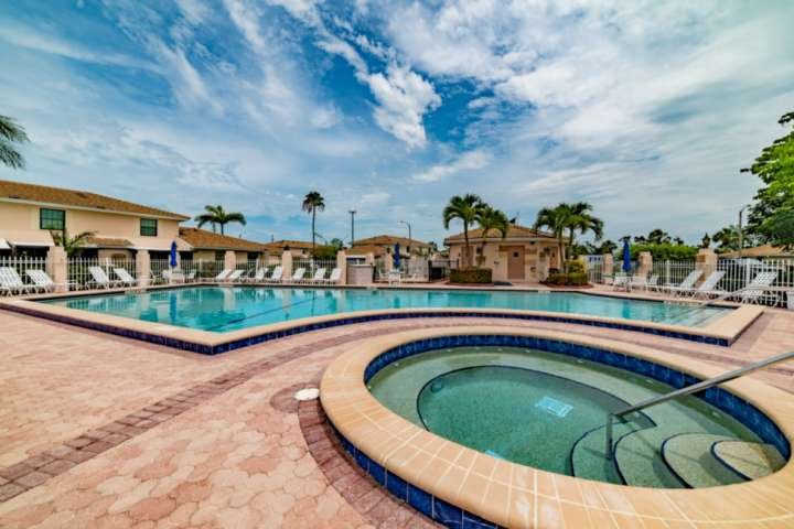 The community pool and hot tub are perfect for relaxing and taking a break from the beach.