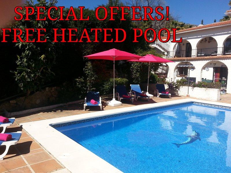 Fab  private villa car not essential free heated pool Oct Nov Dec  Free WiFi, vacation rental in Mijas Pueblo