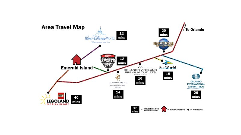 Mapa de viaje del área