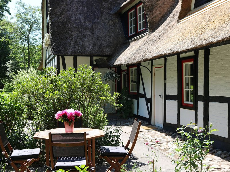 Apartment Hans in thatched cottage with outdoor sauna, large garden, playground, vacation rental in Gromitz