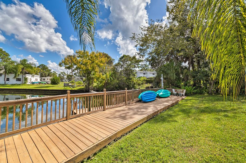 Take advantage of waterfront living with the provided kayaks.