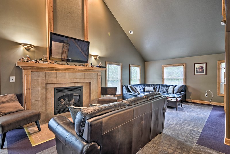 The interior boasts 2000 square feet, perfect for a group of 14!