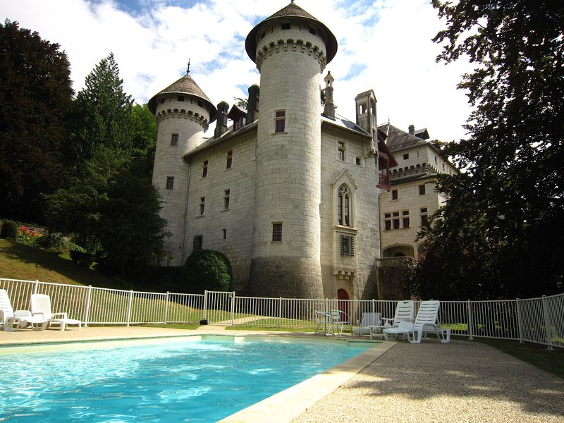 Castle apartment in former chapel with swimming pool, location de vacances à Artemare