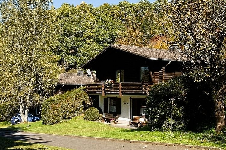 Cozy chalet with a fireplace, located in a wooded area, holiday rental in Pluetscheid