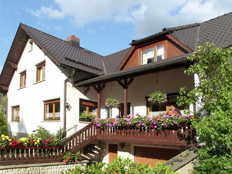 Comfortable holiday home with terraces located in the southern part of the Thuri, holiday rental in Neustadt am Rennsteig