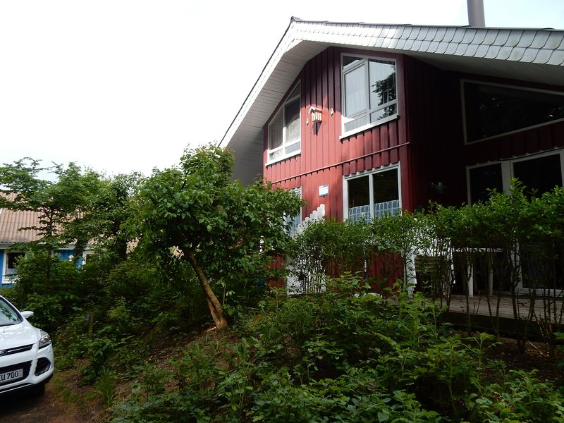 Wooden holiday home in Scandinavian style with a sauna, holiday rental in Rinteln