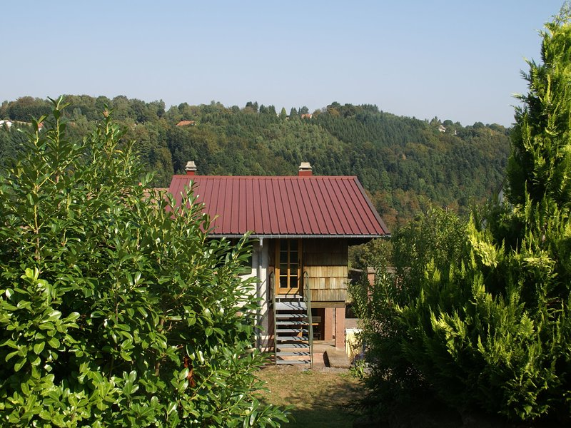 Detached holiday home on wooded hill with magnificent view, location de vacances à Langatte