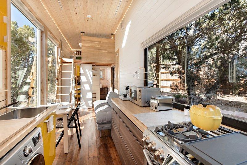 Kitchen with oversized windows