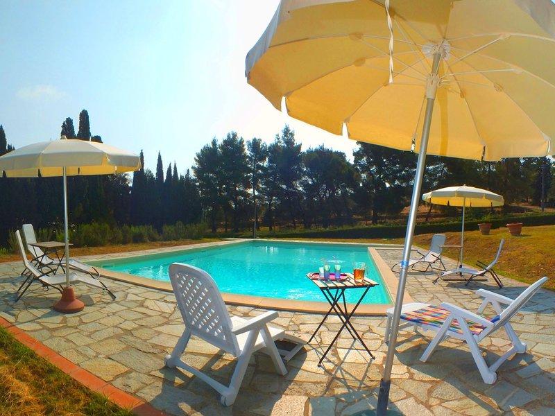 Organic farmhouse complex with swimming pool and splendid views, casa vacanza a Saline di Volterra