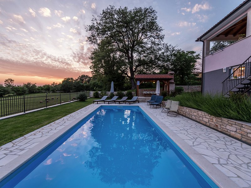 New modern luxury house, situated on a private plot with large garden and pool, casa vacanza a Tinjan