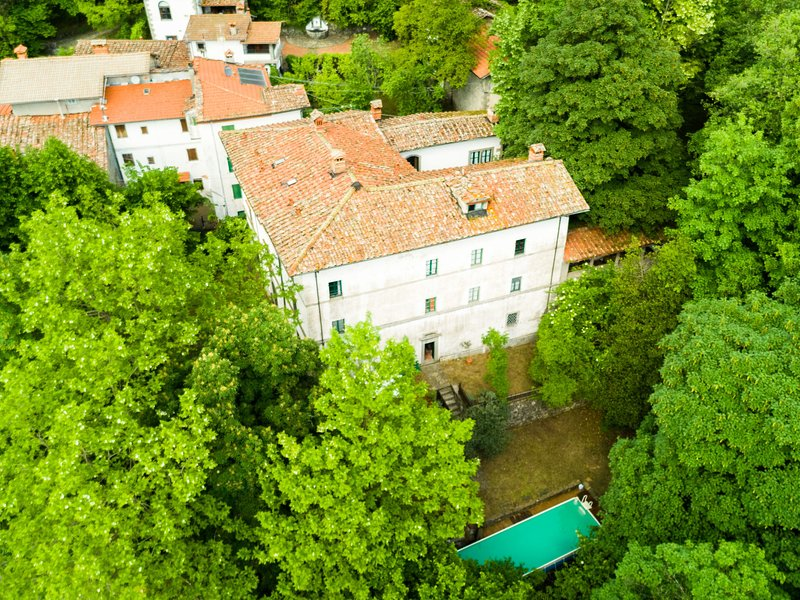 Elegant villa on estate in forested hills with shaded houses around, location de vacances à Popiglio