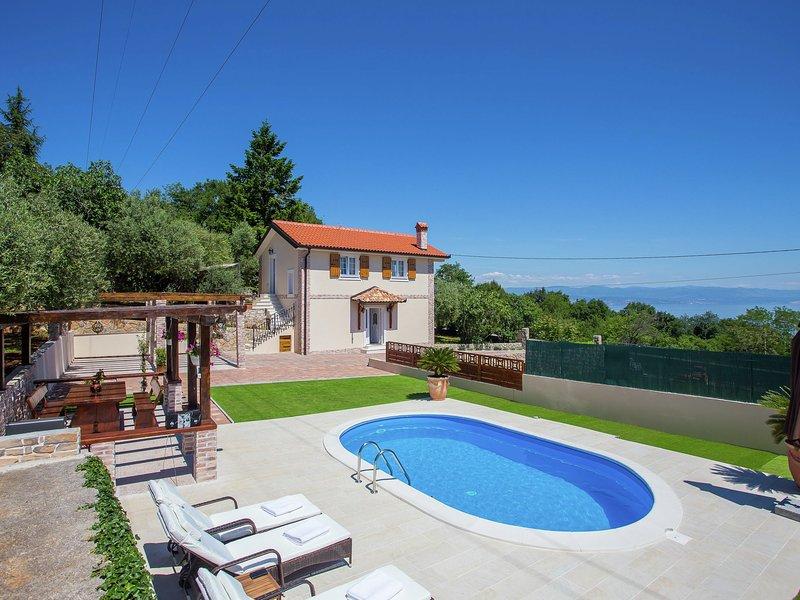 Beautiful villa with sea view and pool located near Opatija, holiday rental in Poljane