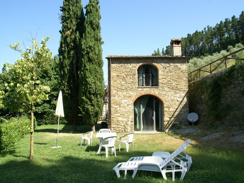 Detached, cozy cottage in vineyard with swimming pool and views over Tuscany, holiday rental in Ricavo