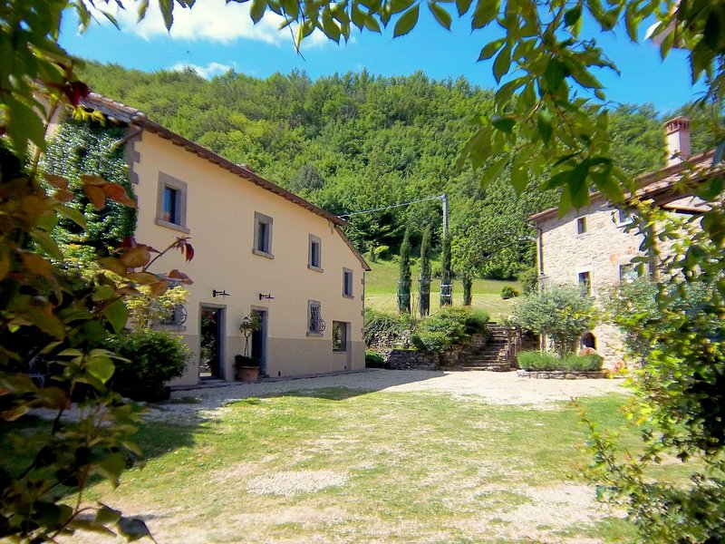 Apartment in the historic medieval village of Serignana with pool and garden, location de vacances à San Godenzo