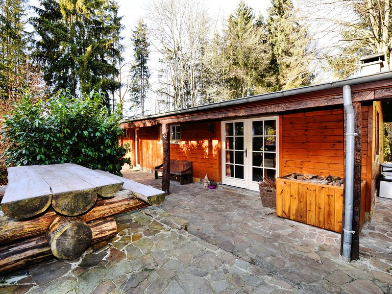Beautiful authentic chalet with spacious garden, covered barbecue and private fi, alquiler vacacional en Achouffe