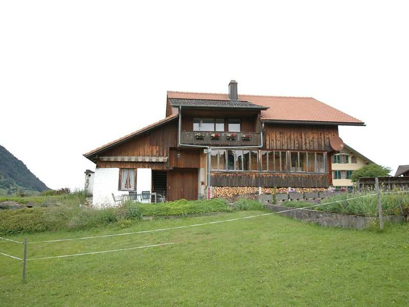Cosy ground floor apartment with privat terrace and great views, vacation rental in Spiez