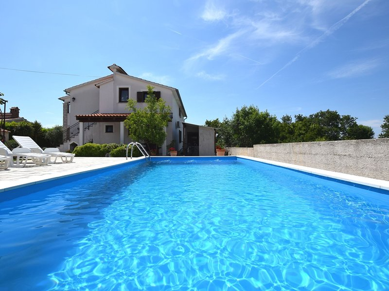 Cozy apartment, pool with deckchairs, fenced garden with grill, wifi and airco, holiday rental in Zikovici
