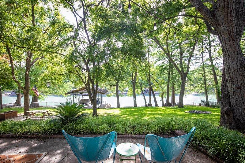 Muebles, aire libre, árbol, patio, naturaleza