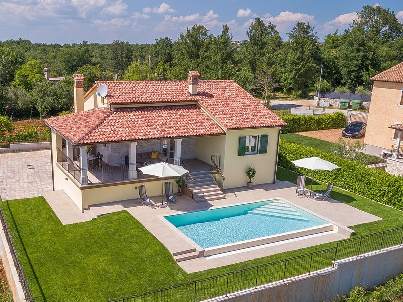 Modern house with pool and beautiful landscaped environment in a quiet location, holiday rental in Vidulini