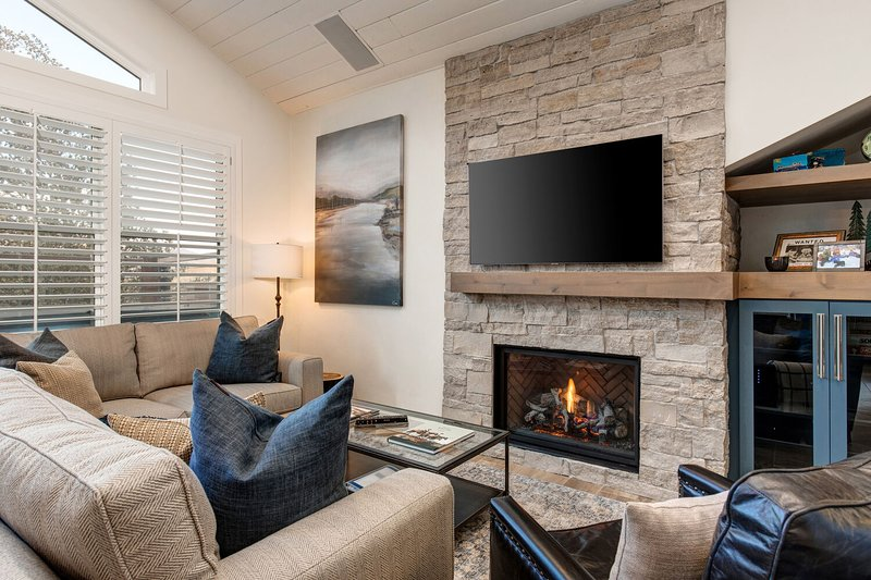 Living Room with All New Furnishings, a Gas Fireplace, Stone Wall with a Smart TV and Plenty of Natural Light