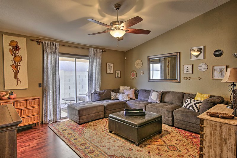 Unwind in this 3-bedroom, 2-bathroom vacation rental townhome in Phoenix.