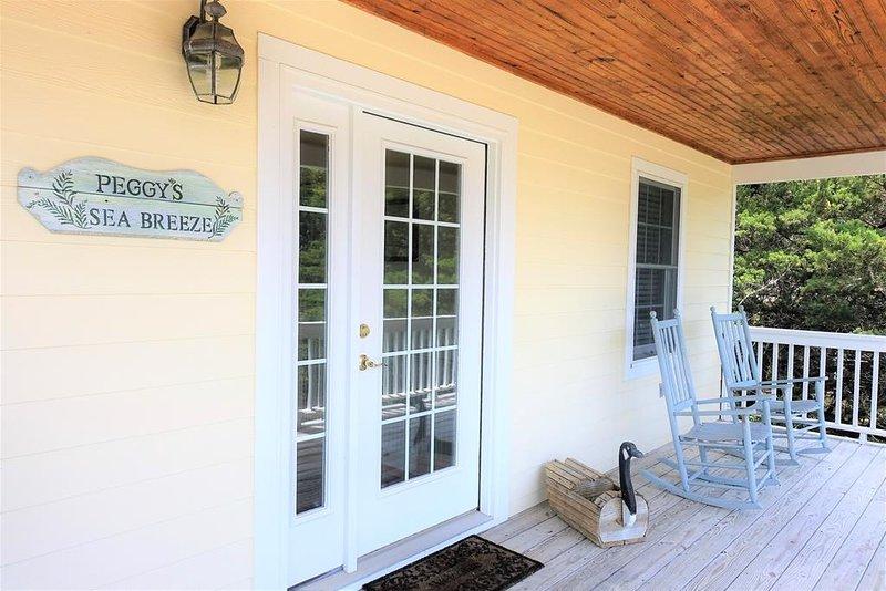 Sedia, mobili, portico, porta-finestra, porta