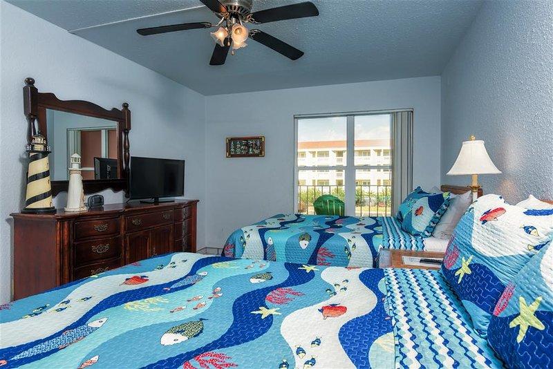 Ventilador de techo, dormitorio, habitación, interior, cama