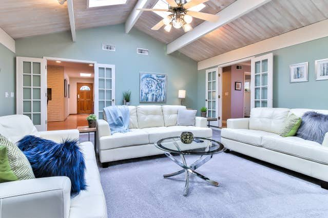 The spacious living room is the perfect gathering place for your group, with comfortable seating for everyone, and a TV equipped with basic HiDef cable.