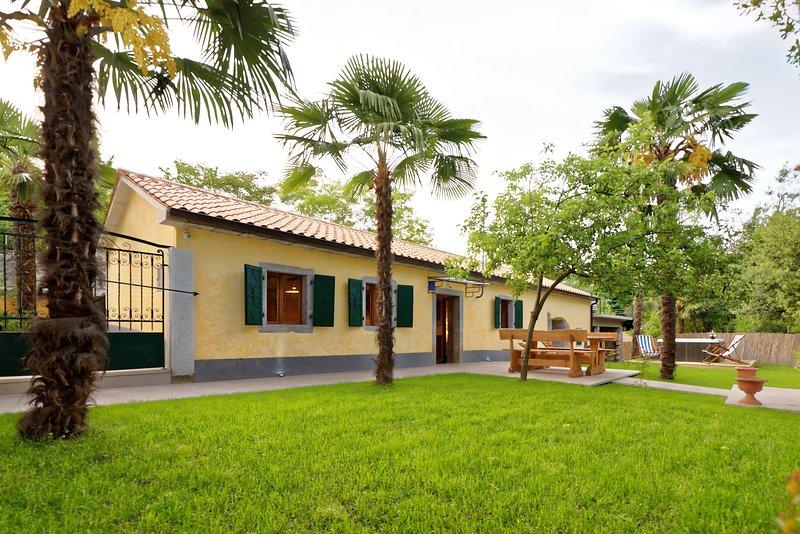 Gras, Gebäude, Haus, Bank, Draußen