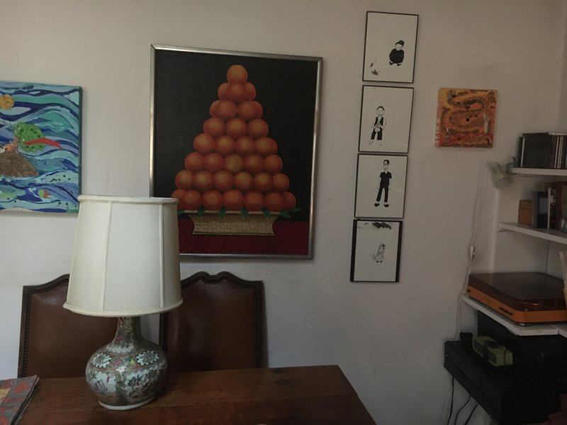 art on walls and new stereo system with turntable, Bluetooth, CDs (great classical collection)