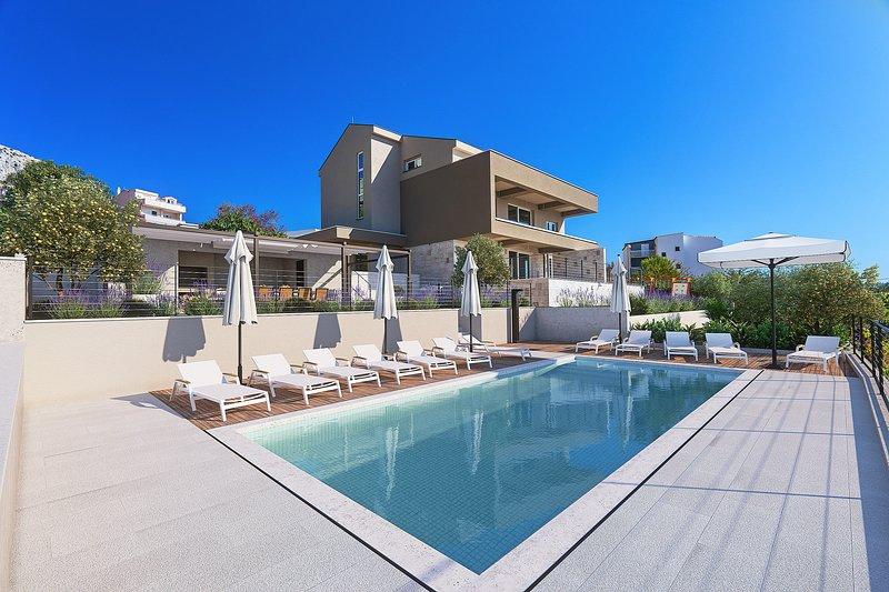 Villa Diva with 7 bedrooms, heated pool, sauna and fun zone, sea views