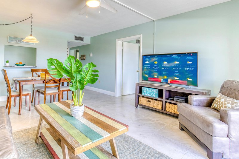 Bright and beachy living and dining area