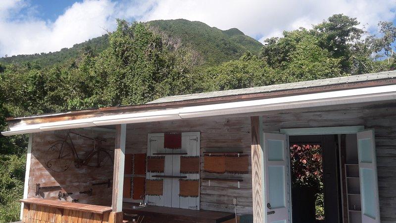 From cottage deck Nevis Peak behind