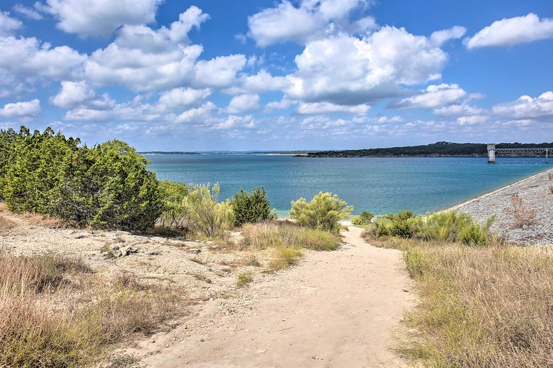 Just under 2 miles away, you'll find yourself by the shores of Canyon Lake.