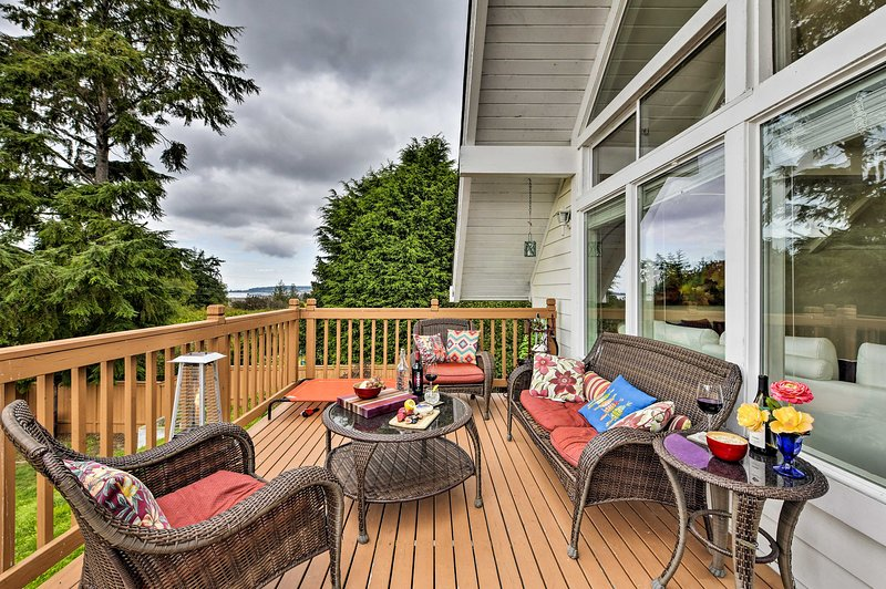 Catch a glimpse of the Puget Sound from the back deck.