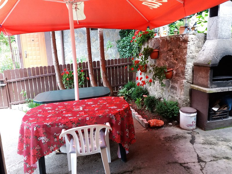outdoor terrace with barbecue