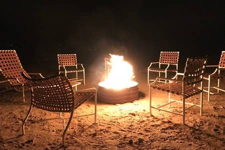 Keep warm by the fire pit as you gaze at the stars.