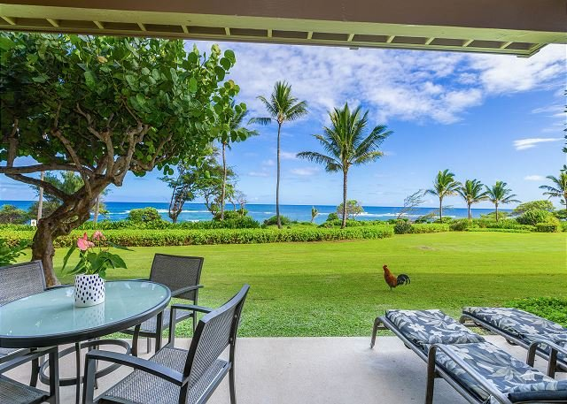 Kaha Lani #121, Oceanfront, Steps to Beach, Sunrise Views from Private Lanai, location de vacances à Lihue