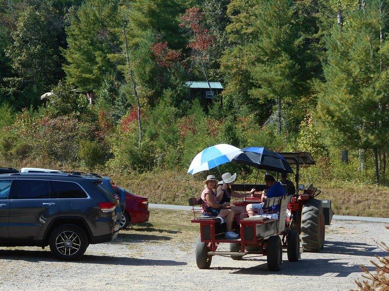 Réductions sur les activités du parc comme les promenades en charrette. Cabine Loft n'est pas visible pour se garer.